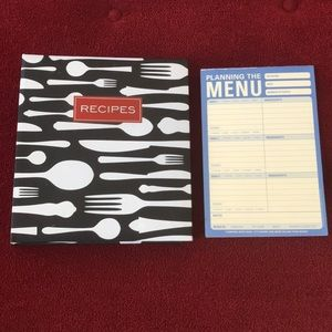 RECIPES Book/Holder and PLANNING THE MENU Notepad
